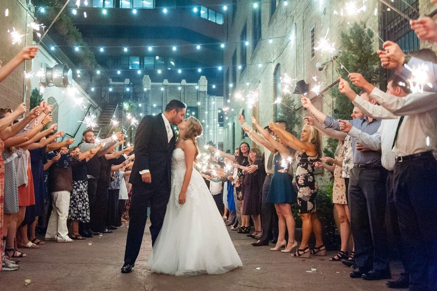 Mining Exchange wedding sparkler exit