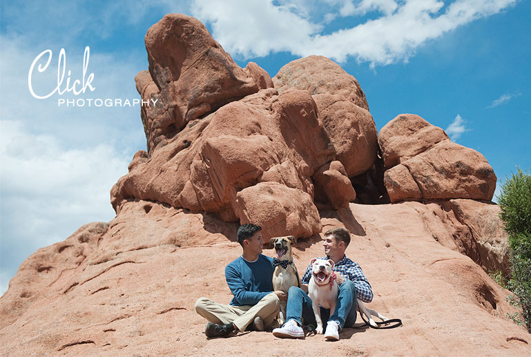family portraits at Red Rock Canyon with dogs Colorado Springs