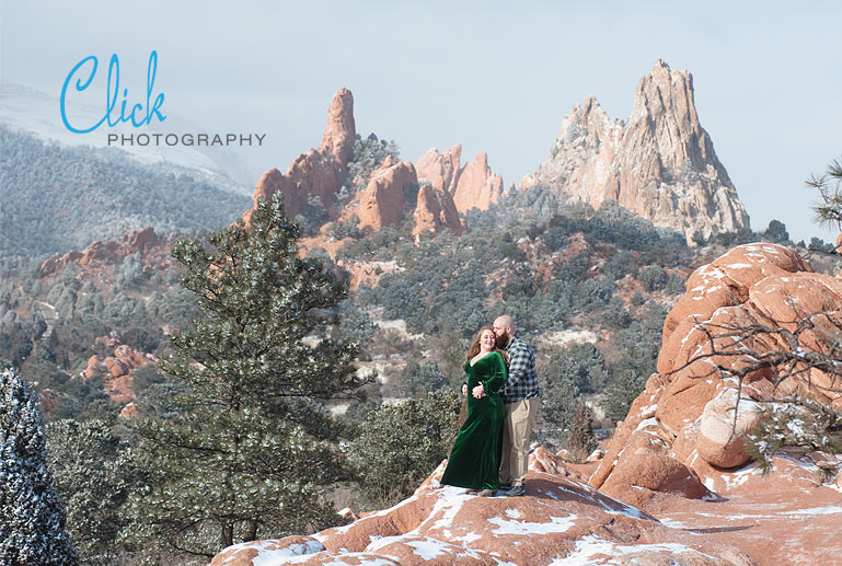 engagement portraits in the snow